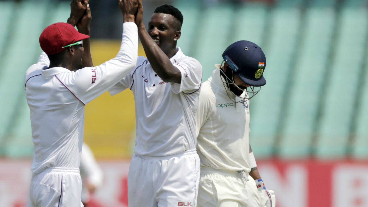 West Indies bowler Sherman Lewis, playing his first Test, took the wicket of Kohli soon after Lunch. The Indian captain was dismissed on a score of 139. After Pujara, Kohli became Lewis' second scalp in the innings. (Image: AP)