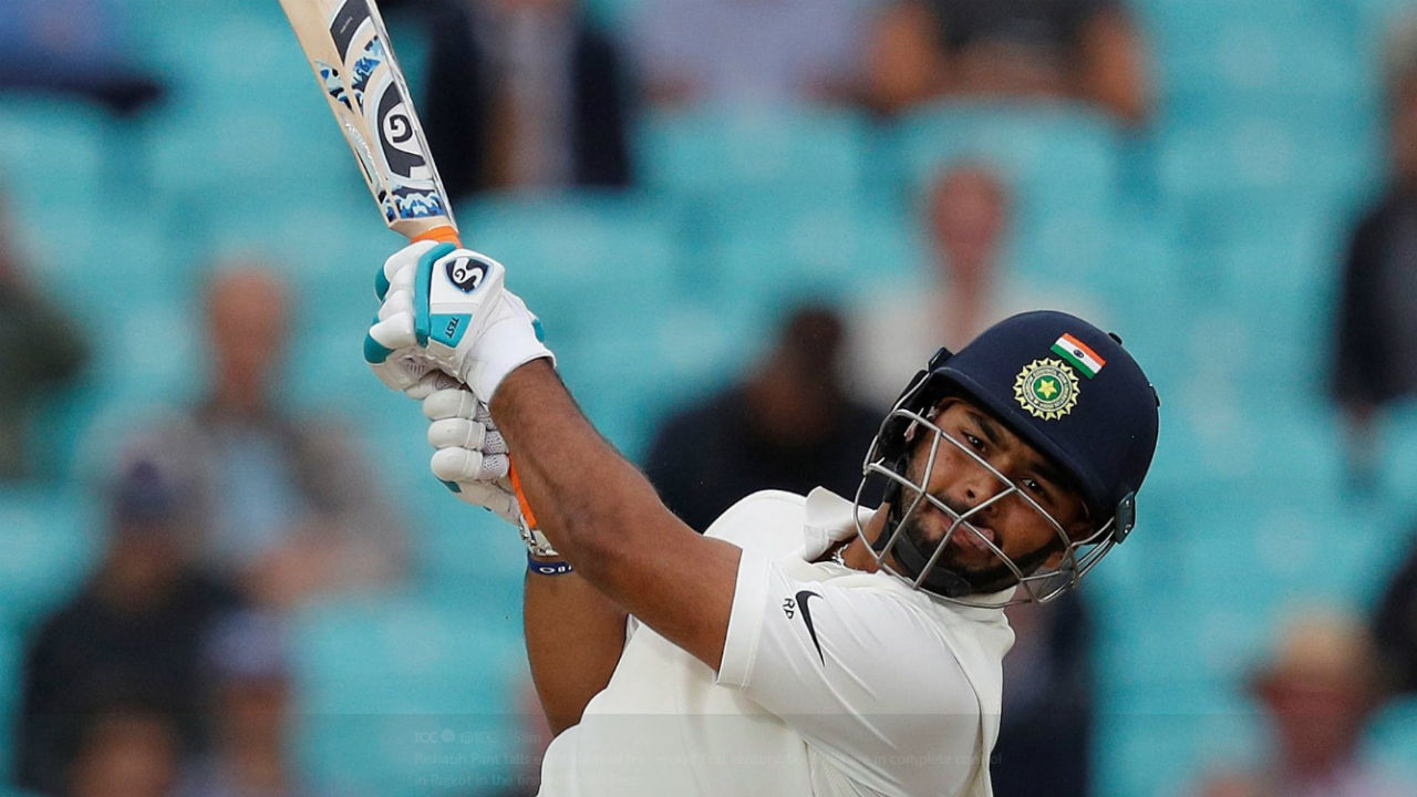 Rishabh Pant was looking good for a second consecutive Test century until he mistimed a delivery from leg spinner Devendra Bishoo to Keemo Paul. The southpaw scored 92 off just 84 balls. (Image: twitter.com/ICC)