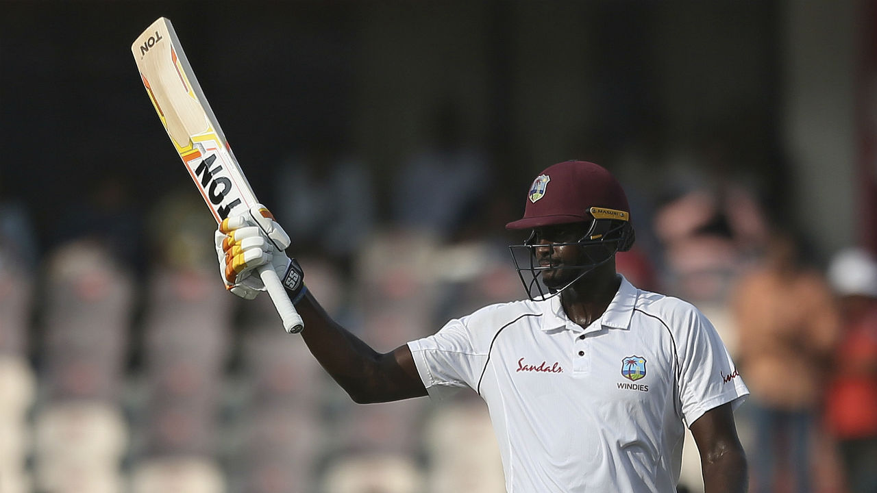 Chase got good support from Windies skipper Jason Holder as the returning Windies captain hit half-century too. It was all-rounder's eighth Test fifty. (Image: AP)