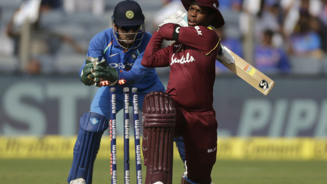 Just when it looked like Hetmyer would play yet another brisk innings the Guyana batsman was dismissed by Kuldeep Yadav thanks to brilliant piece of stumping by Dhoni. (Image: AP)