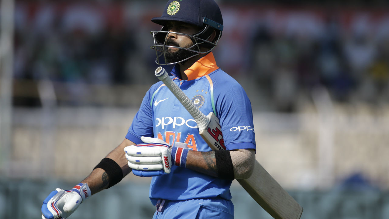 After scoring three centuries on a trot in-form batsman Virat Kohli was dismissed on a low score of 16. Kemar Roach got Kohli to nick an away going delivery to wicket-keeper Shai Hope. (Image: AP)