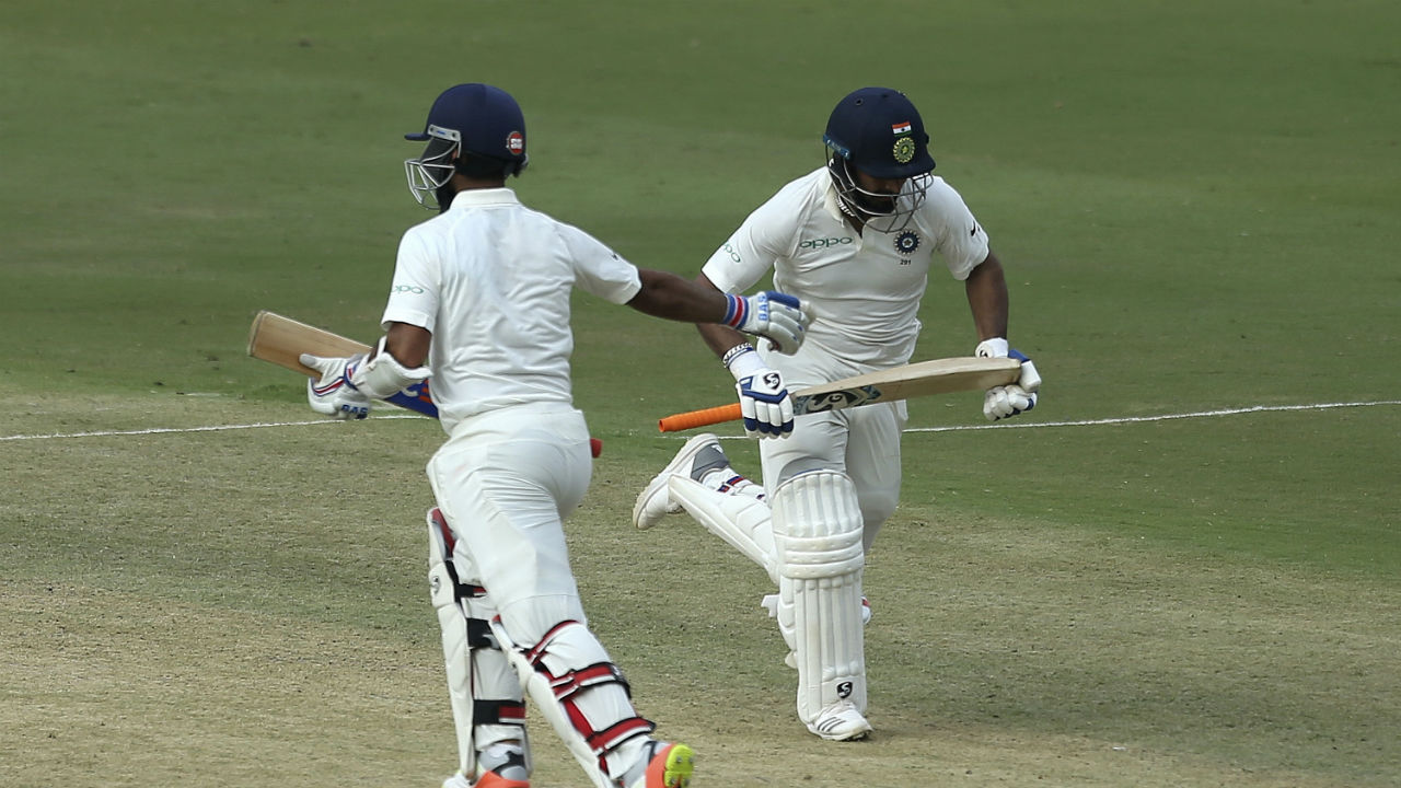 Pant and Rahane constructed a huge 146-run partnership and remained unbeaten till Stumps on Day 2. Thanks to the partnership India finished the day on 308/4, just three runs shy of Windies first Innings total. (Image: AP)