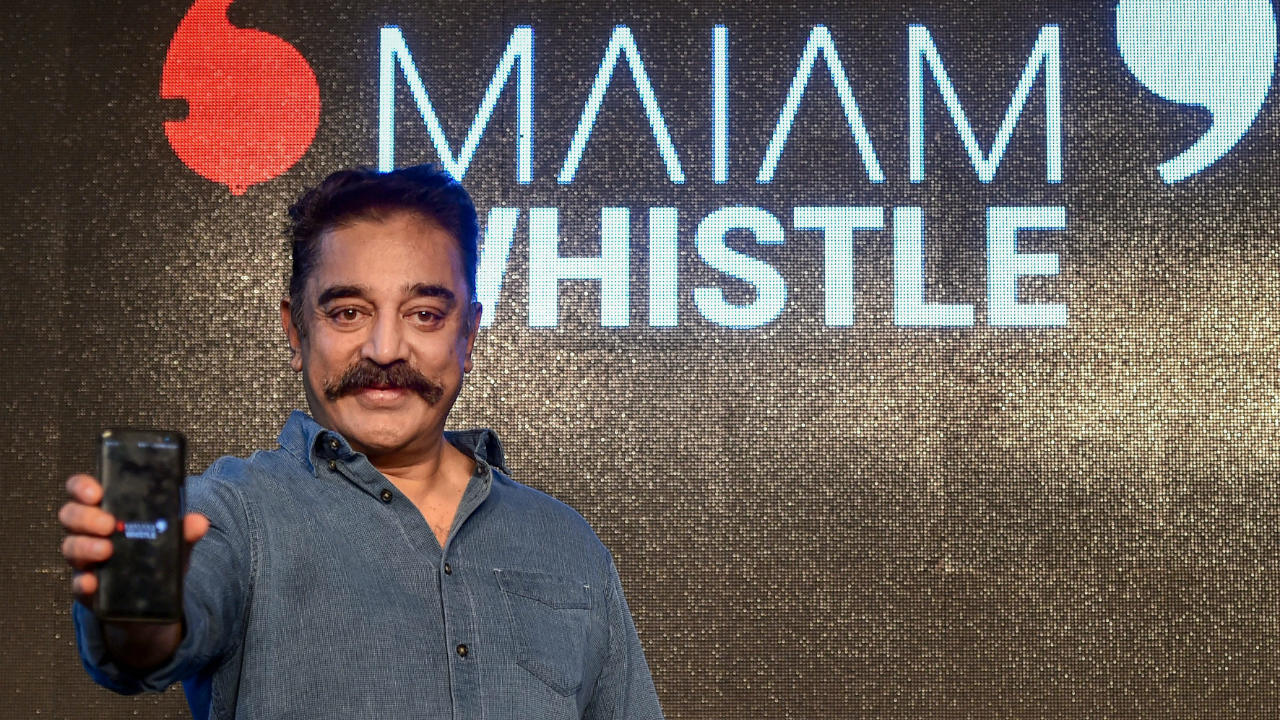 Kamal Haasan at the launch of the Maiam Whistle application (Image: PTI)