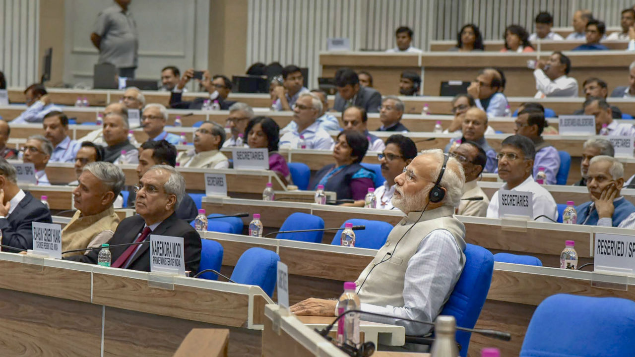 """Prime Minister Narendra Modi at the fourth edition of the NITI Lecture Series, on the theme for this year is """"AI for ALL: Leveraging Artificial Intelligence for Inclusive Growth"""", in New Delhi. (Image: PTI)"""