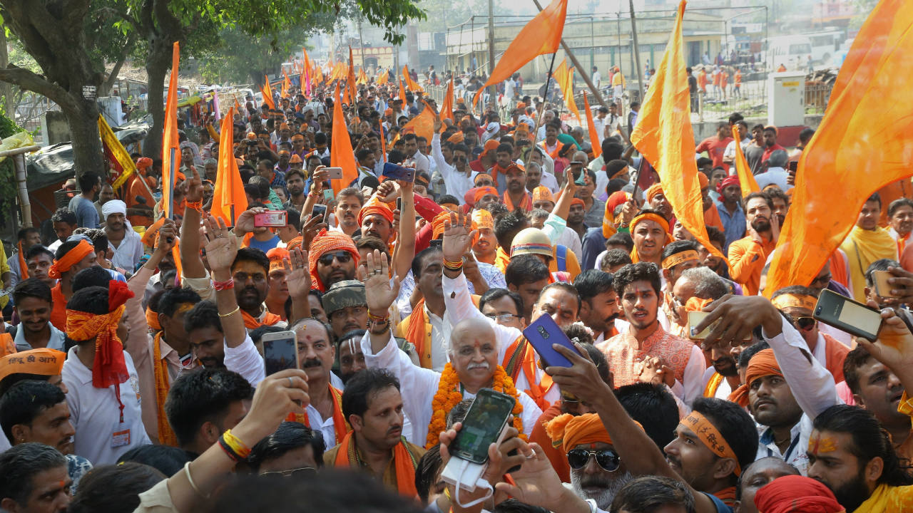 Antarrashtria Hindu Parishad president Pravin Togadia during a rally near the 'samadhi' of Ram Chandra Paramhans, in Ayodhya, Uttar Pradesh. (Image: PTI)