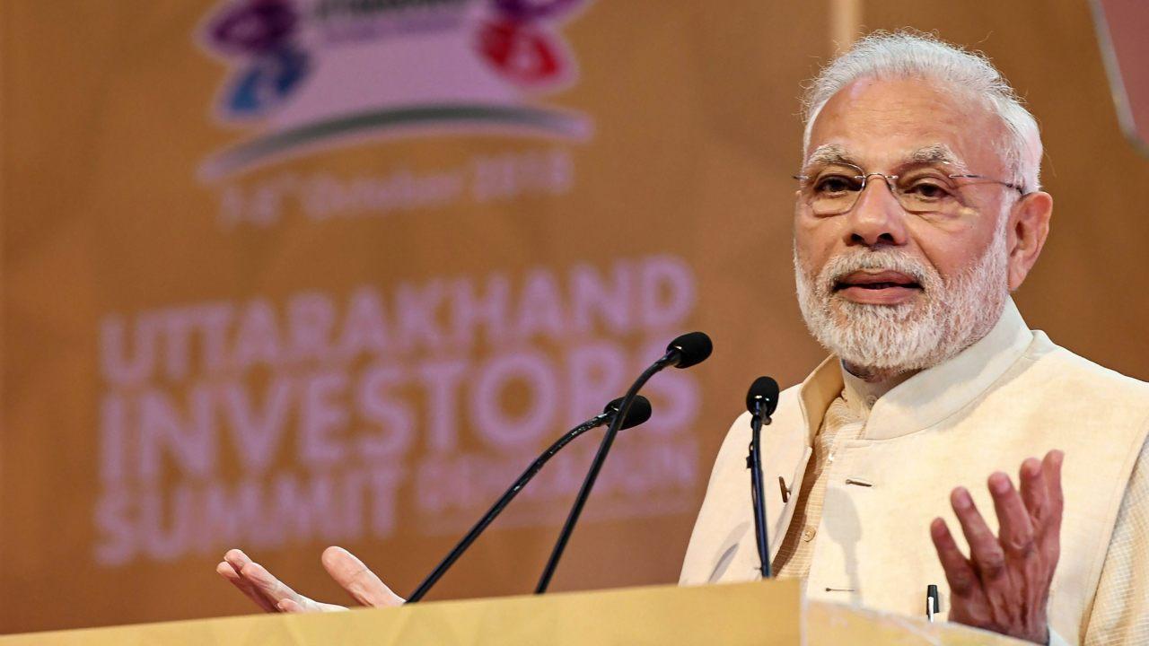 Prime Minister Narendra Modi addresses the 1st Uttarakhand Investors Summit 2018, in Dehradun, Uttarakhand. (Image: PTI)