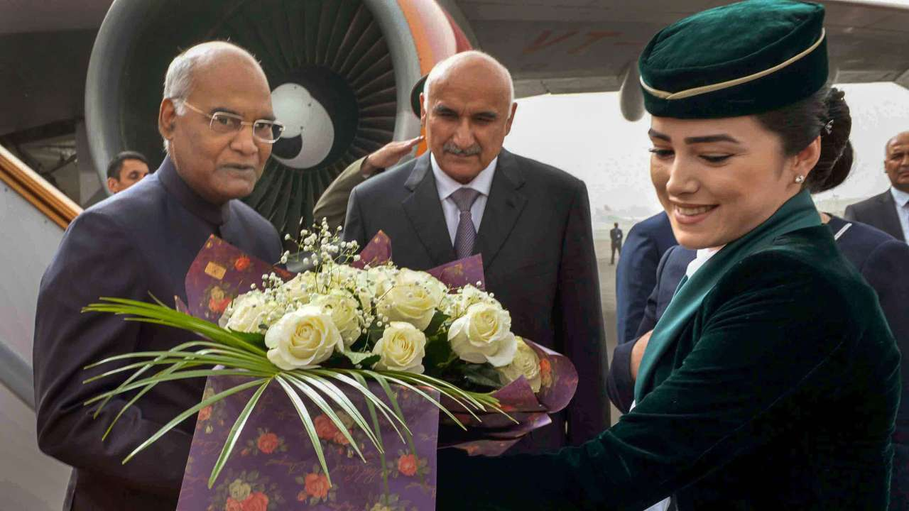 President Ram Nath Kovind being welcomed on his arrival at Dushanbe International Airport, Dushanbe, Tajikistan. (PTI)