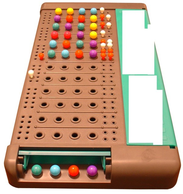 Q15. This board game with pegs was invented in 1970 by Mordecai Meirowitz, an Israeli postmaster and telecommunications expert. The game is played using: - a decoding board, - code pegs - key pegs