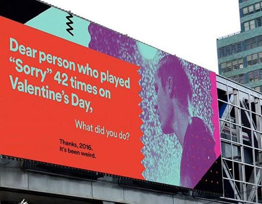 Which company came up with this billboard ad at the end of the year 2016?