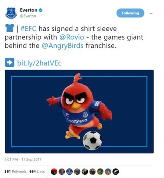 Angry Birds Video game franchise Angry Birds have become Everton's first ever shirt sleeve sponsor.