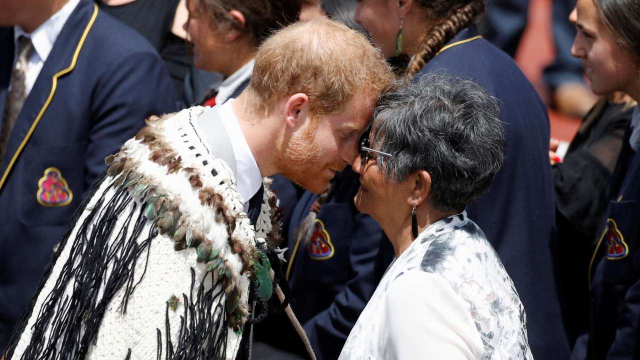 Britain's Prince Harry receives a traditional Maori hongi greeting at a formal powhiri welcoming ceremony in Te Papaiouru, Rotorua, New Zealand. (Image: REUTERS)