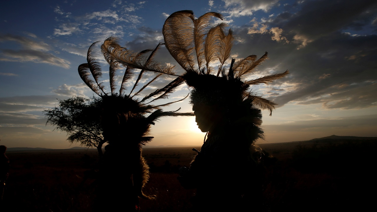 Dancers from the Kurya community are seen before performing in front of visitors to the Singita Grumeti Game Reserve, Tanzania. (Image:Reuters)