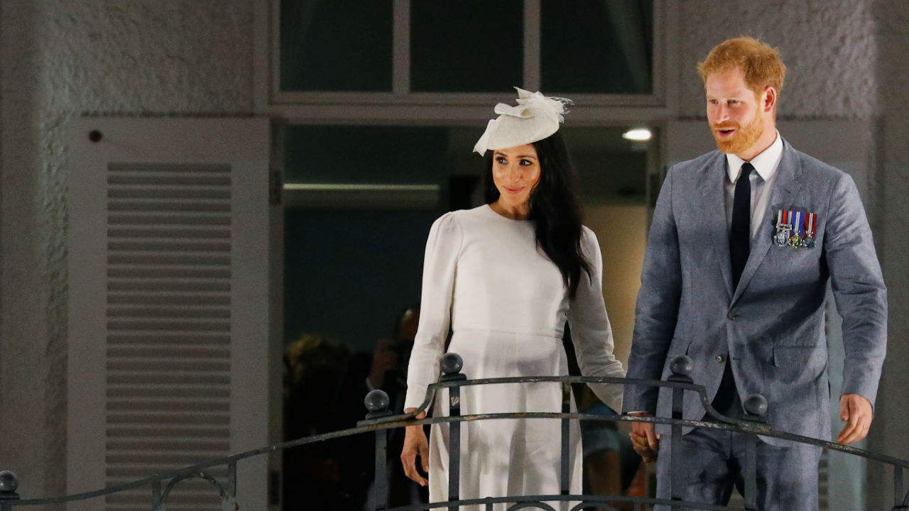 Britain's Prince Harry and Meghan, the Duchess of Sussex, arrive at Grand Pacific Hotel in Suva, Fiji. (Image: Reuters)