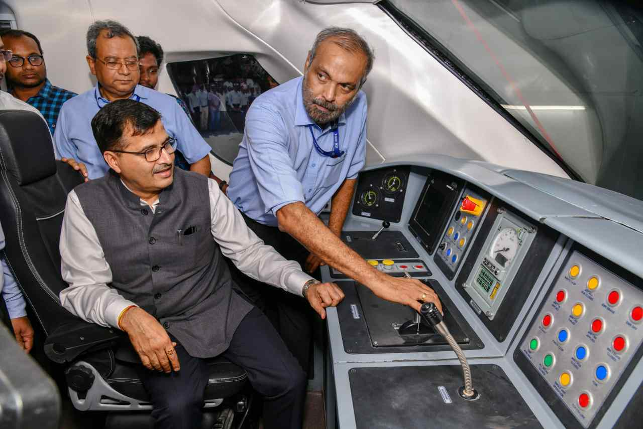 The indigenously-built train is fitted with CCTV cameras for passenger safety and will feature diffused lighting, automatic doors, sliding footsteps and GPS-based passenger information system. (Image: PTI)