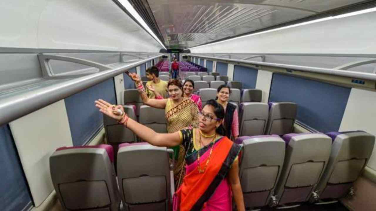 The swanky 16-coach prototype can travel up to 160 kmph and will reduce travel time by 15 percent compared to the Shatabdi Express. (Image: PTI)