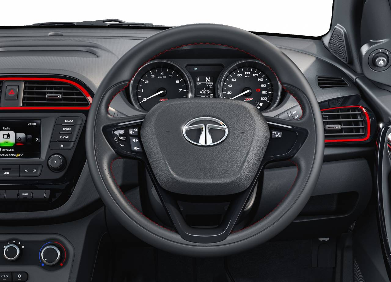 Audio controls are mounted on the steering wheel. There is smart phone based navigation too. (Image: Tata Motors)