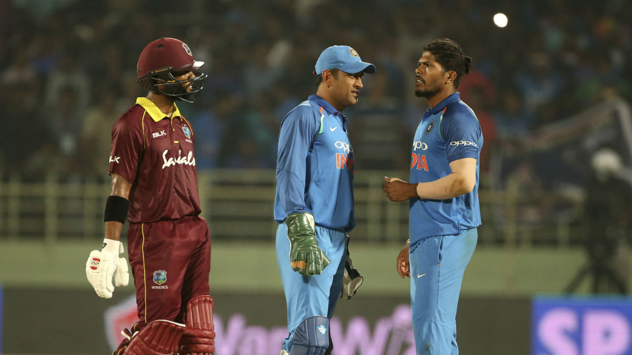 Windies stretched the match all the way down to the last over. With the team needing 14 runs to win the match onus was on Umesh Yadav to finish things off for India. Yadav gave seven runs from first three deliveries and then picked up the wicket of Ashley Nurse to take the enticing encounter all the way to last ball. Windies needed 5 runs to win the match off the last ball and Shai Hope hit a boundary to tie the match. (Image: AP)