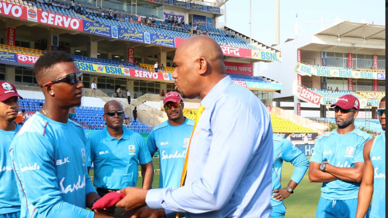 In the opposition camp, Sherman Lewis made his Test debut. West Indies bowling legend Ian Bishop handed Lewis his first Test cap. (Image: twitter.com/ICC)