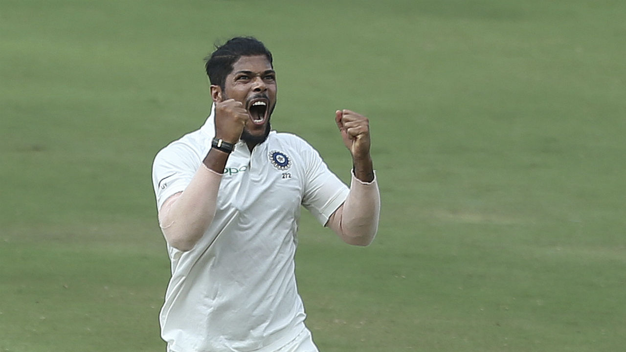 Yadav picked up the last wicket of Windies innings as he clean bowled Shannon Gabriel. It was the pacer's fourth wicket in the innings and 10th wicket of the match. As Yadav completed his 10 wickets for the match he became only the third Indian fast bowler after Kapil Dev and Javagal Srinath to claim a ten-wicket haul in a home Test. (Image: AP)