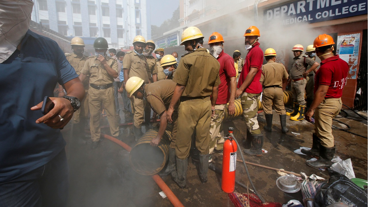 Firefighters douse a blaze that broke out at the Calcutta Medical College and Hospital building in Kolkata, India. (Image: Reuters)
