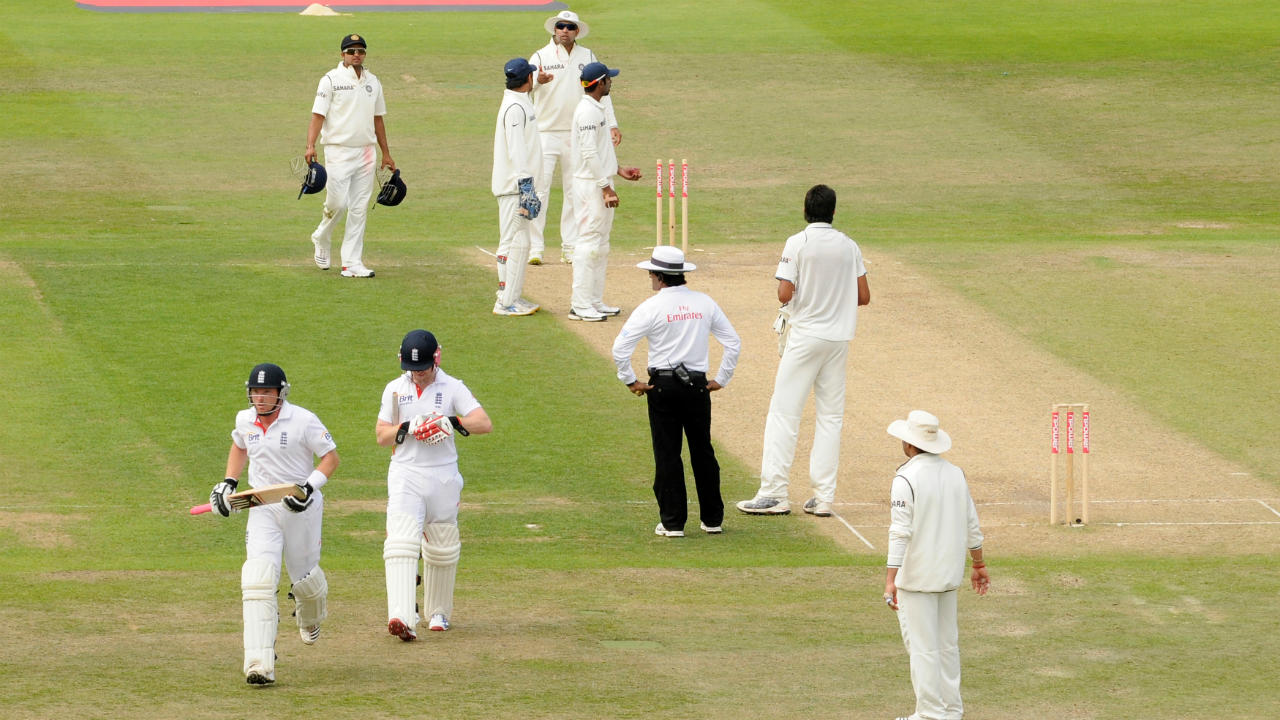 Ian Bell vs India (2011) | Bell's controversial run-out at the stroke of Tea at Trent Bridge threatened to erupt into the biggest controversy of the 2011 tour of England. Eoin Morgan flicked the last ball of the over to deep square leg and Praveen Kumar tumbled over while preventing the boundary. The batsmen thought it was a boundary and Bell continued to walk down the pitch towards the dressing room. When the throw came in, Abhinav Mukund took off the bails and India appealed for a run-out. Replays showed Praveen prevented the boundary and Bell was adjudged run out. However, Andrew Strauss and coach Andy Flower asked Dhoni to reconsider the dismissal at Tea and the Indians later decided to withdraw the appeal allowing Bell to return to the crease. (Image: Reuters)