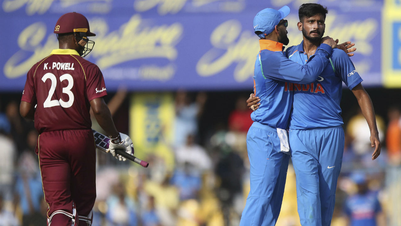 Kieran Powell and Shai Hope stitched together a 65-run partnership for the 2nd wicket before Khaleel Ahmad provided India with the breakthrough in the 15th over when he dismissed Powell who had just completed his half-century. Chahal then trapped Marlon Samuels lbw in the very next over sending him back for a duck on his 200th ODI for the West Indies. (Image: AP)