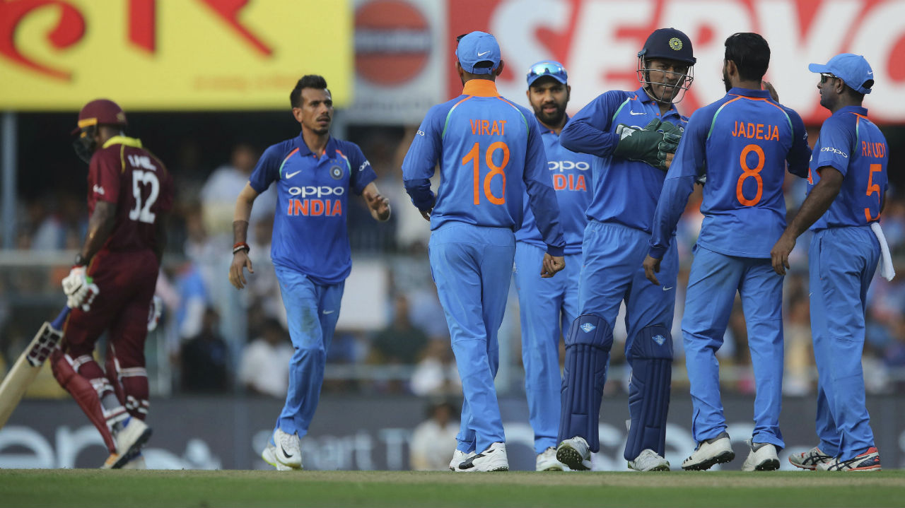 India looked in a strong position when Shami bounced out Hope in the 22nd over. However, Shimron Hetmyer and Rovman Powell then stitched together a vital 74-run partnership to steady the innings. The partnership ended when Ravindra Jadeja castled Powell in the 31st over to reduce the Windies to 188/5. (Image: AP)