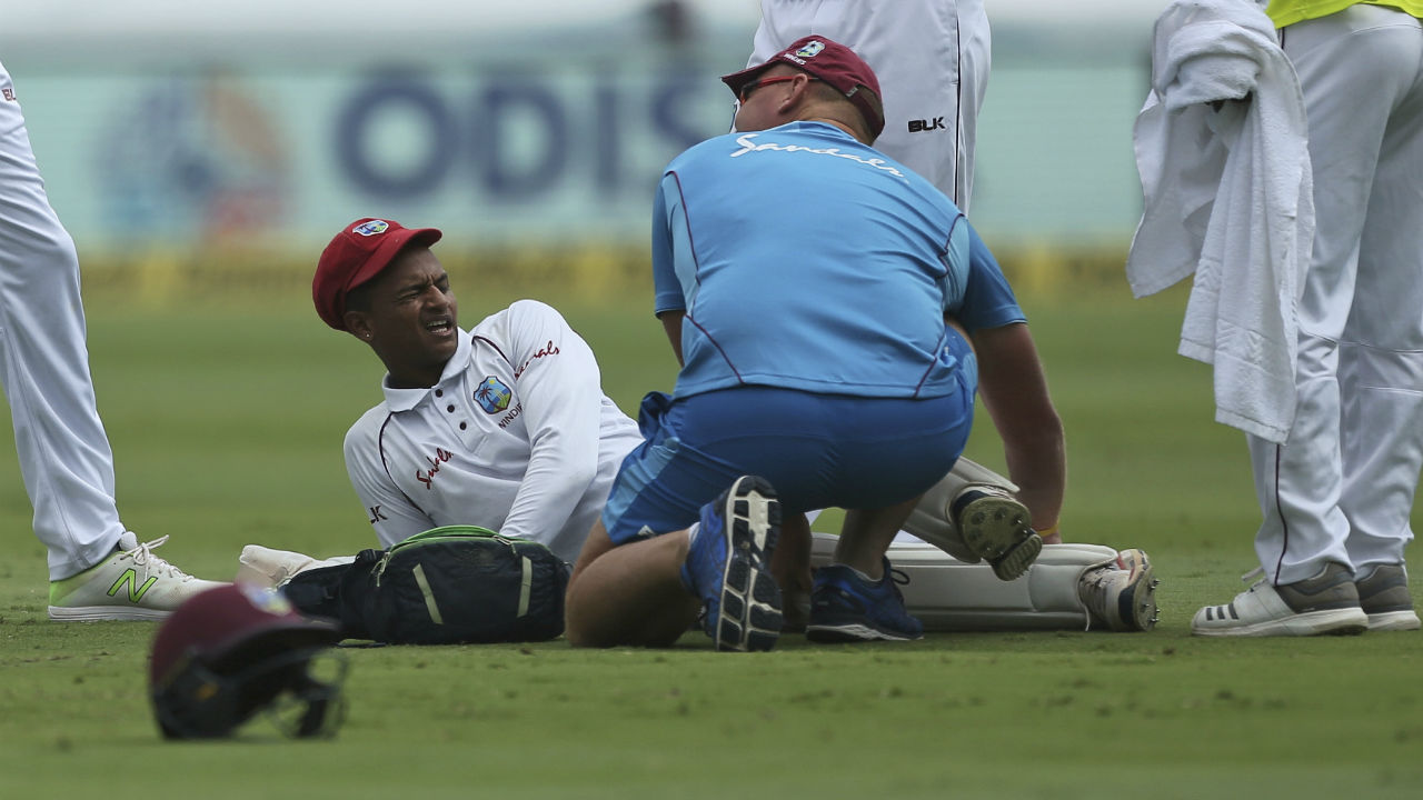 The Windies lost their keeper Shane Dowrich in the 3rd over of the Indian innings when Shannon Gabriel's delivery bounced awkwardly and hit him on the knee. Dowrich looked in much pain as he was carried off the field with Jahmar Hamilton the substitute replacing him behind the stumps. (Image: AP)