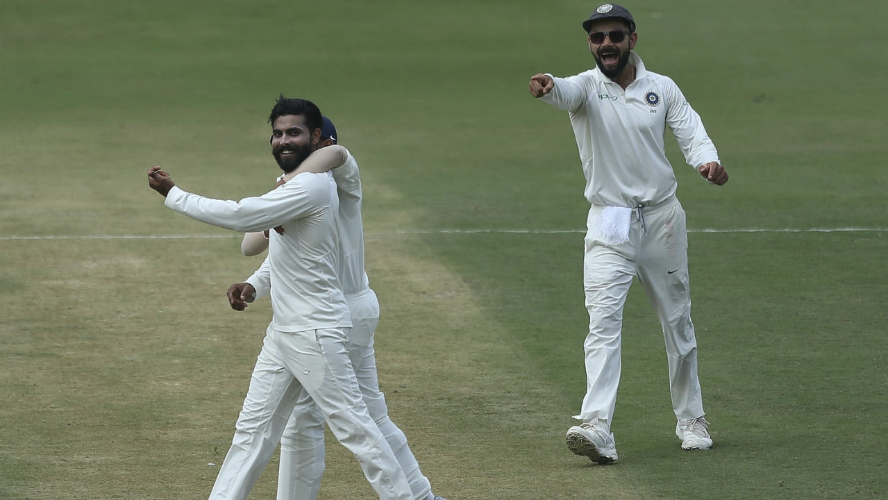 Umesh Yadav was supported by Ravindra Jadeja as the left arm spinner chipped in with three wickets. Jadeja scalped the wickets of Shai Hope, Sunil Ambris and Jason Holder. (Image: AP)