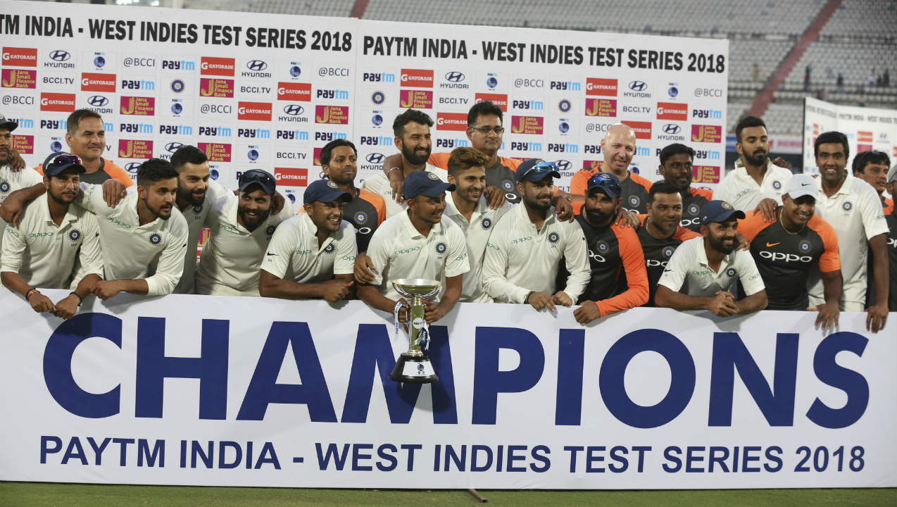 Umesh Yadav was awarded the Man of the Match for his 10 wickets while young debutant Prithvi Shaw was given the Man of the Series award. This was India's first 10-wicket win over the Windies in Tests and it also meant they wrap up the series 2-0 with just 6 days of play. (Image: AP)
