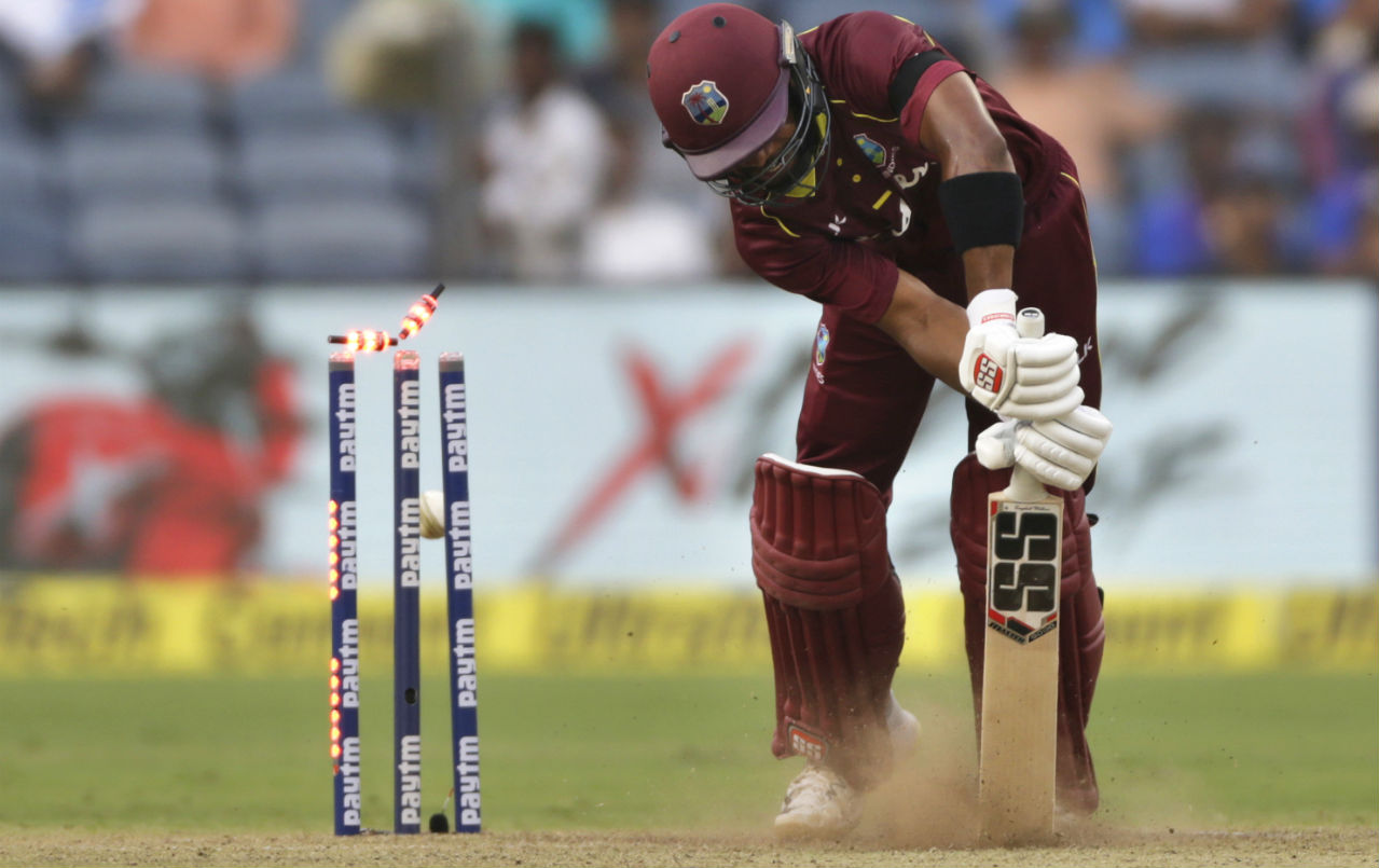 Hope missed out on back-to-back centuries when he was castled by Bumrah on 95 runs. Ashley Nurse then smashed 40 off 22 balls to take the Windies to 283/9 after 50 overs. Bumrah was India's best bowler with four wickets while giving away just 35 runs. (Image: AP)