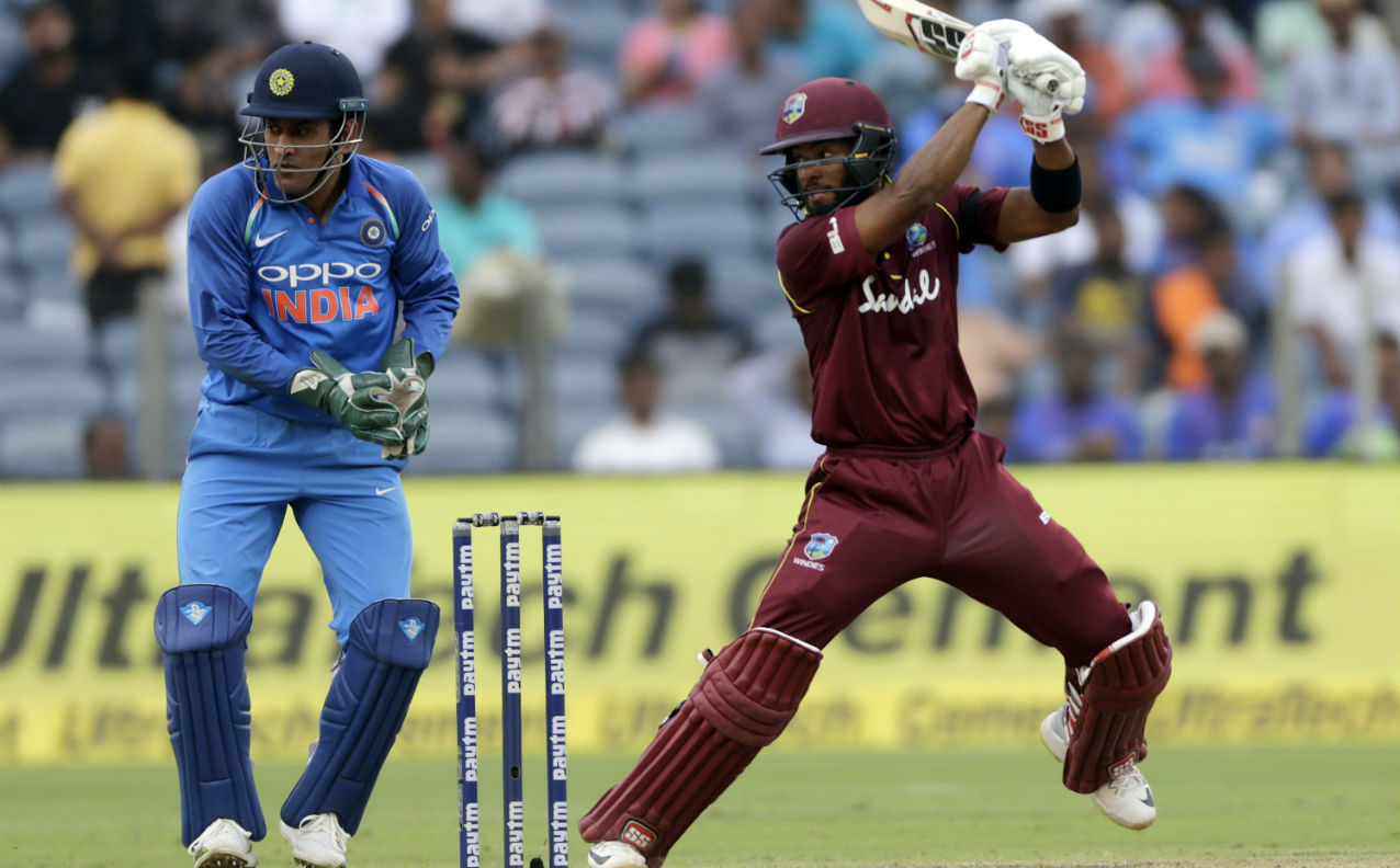 Shai Hope had yet another great outing with the bat. He stitched together a 76-run partnership with Jason Holder to steady the Windies innings. Holder was finally dismissed by Bhuvneshwar in the 39th over and debutant Fabian Allen lost his wicket to Chahal just three overs later. (Image: AP)