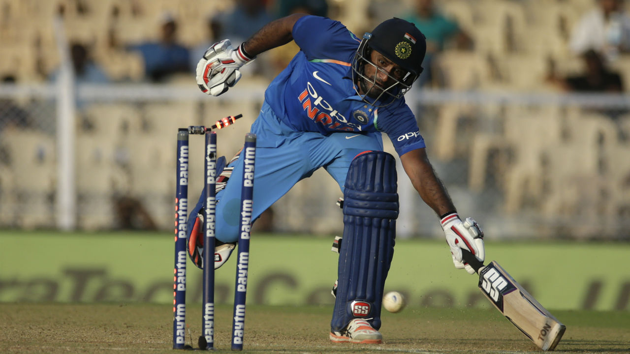 Rayudu was dismissed just 3 balls later when Fabian Allen collected the ball off his own bowling and caught Rayudu out of the crease with a direct-hit. The lower middle-order then added 33 runs in the last three overs to take India to 377/5 after 50 overs. (Image: AP)