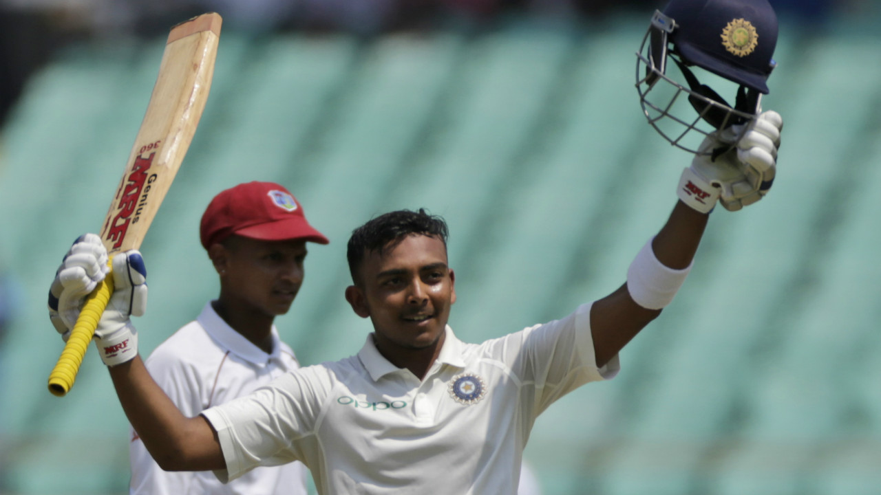 Prithvi Shaw completed his maiden Test century on debut from just 100 deliveries. He became the second youngest Indian to score a Test hundred after Sachin Tendulkar. It was also the third fastest Test hundred on debut. (Image: AP)