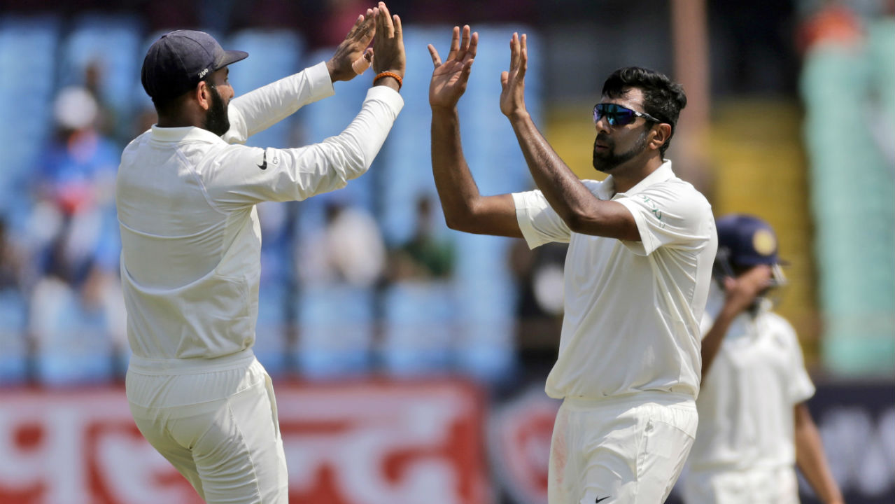 Ashwin continued to torment the Windies in the 2nd innings as he got Kraigg Brathwaite dismissed in the 8th over. Brathwaite was tempted by a flighted delivery but only ended up sending it straight towards young Prithvi Shaw at forward short leg who made no mistake taking the catch. (Image: AP)