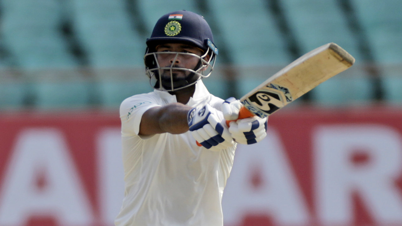 Rishabh Pant completed his maiden Test fifty in style when he whipped Keemo Paul for a six over midwicket in the 101st over. Pant took just 60 balls to complete his half-century, his aggressive batting helped India reach 417/4 after 101 overs. (Image: AP)