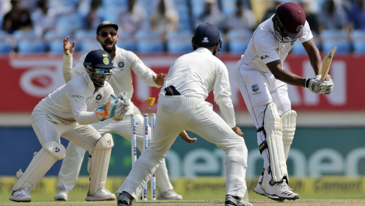 Ravichandran Ashwin then cleaned up the Windies tail with a devastating spell. He castled both Roston Chase and Sherman Lewis in his 2nd over of the day. The Windies innings folded when Ashwin got Shannon Gabriel stumped in the 48th over. Windies managed just 181 runs in their 1st innings as India enforced the follow-on. (Image: AP)