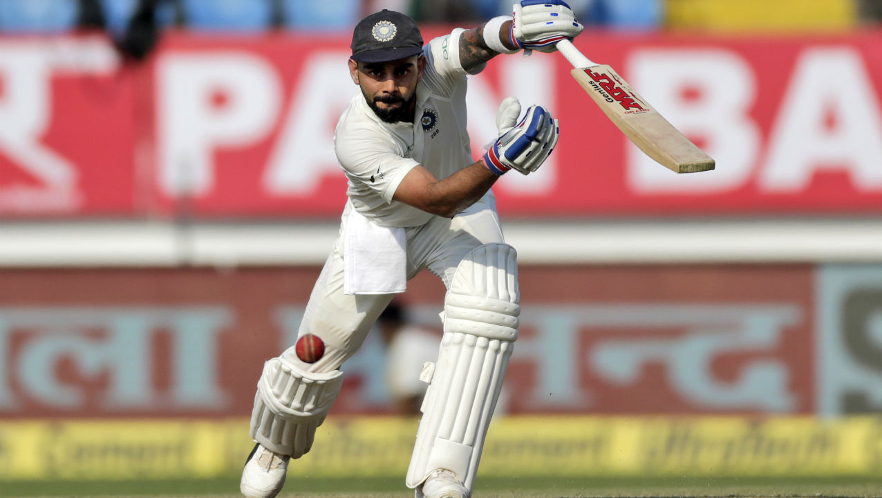 Virat Kohli looked in fine form as he completed his half-century in the 77th over. The Indian skipper took his time at the crease with his 50 coming from 102 deliveries. (Image: AP)