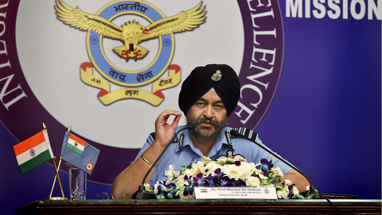 Air Chief Marshal Birender Singh Dhanoa addresses the media ahead of Air Force Day, in New Delhi. (Image: PTI)