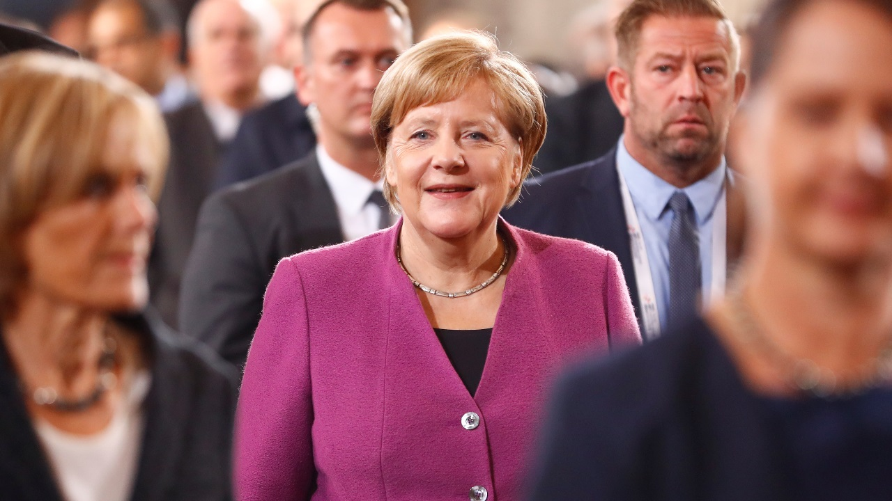 German Chancellor Angela Merkel arrives for the German Unification Day celebrations at the Berlin Cathedral in Berlin, Germany. (Image: Reuters)