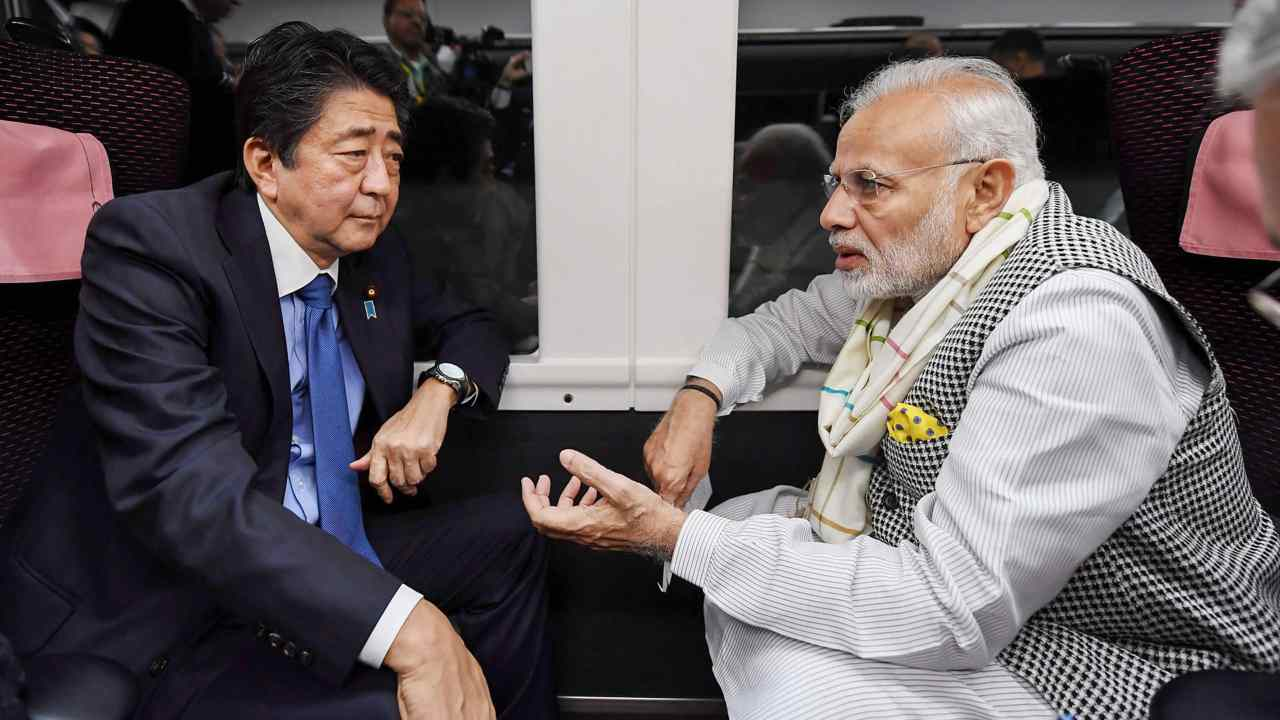 After spending nearly eight hours together, the two leaders embarked on a journey to Tokyo Express Train Kaiji, in Yamanashi. (Image: PTI)