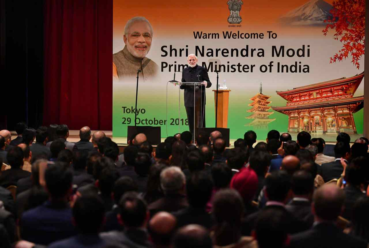 PM Modi started the second day of the summit by addressing the Indian diaspora in Tokyo. He congratulated the community for taking 'brand India' to new heights by introducing Indian food, cricket and the diverse culture to their Japanese counterparts. (Image: PTI)