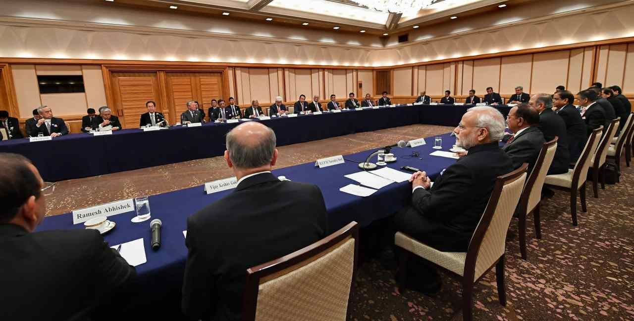 PM Modi also attended a summit with top business leaders from both countries at Business Leaders Forum. He said that the input from the forum will propel India to achieve global benchmarking and urged Japanese businessmen to engage more with the country. (Image: PTI)