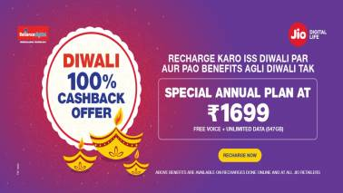 Reliance Jio offers: Rs 1,699 annual plan with 547 GB 4G data, 100% cashback on all recharges above Rs 100
