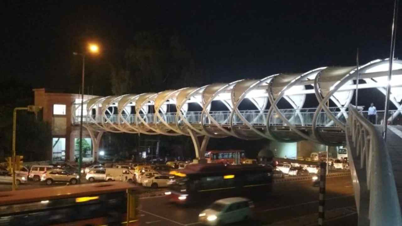The skywalk is funded by the Centre and is designed and constructed by Delhi government's Public Works Department.