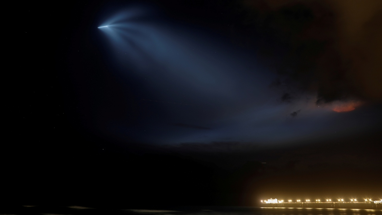 A SpaceX Falcon 9 rocket lights up the evening sky over Oceanside, California as it carries an Argentinian Earth-observing satellite into space after blasting off from Vandenberg Air Force Base, California, US (REUTERS)