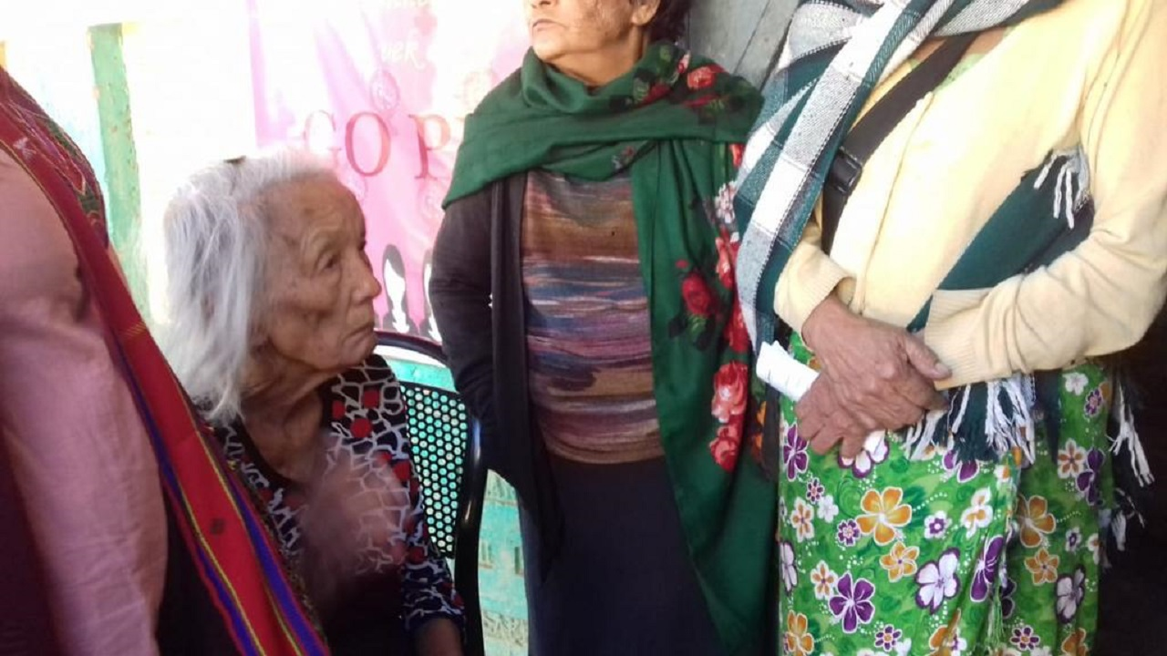 A number of elderly voters also came out to vote. Seen in this picture is a 92-year-old from Lunglei waiting in line to cast her ballot. (Image: AIR News Aizawl)