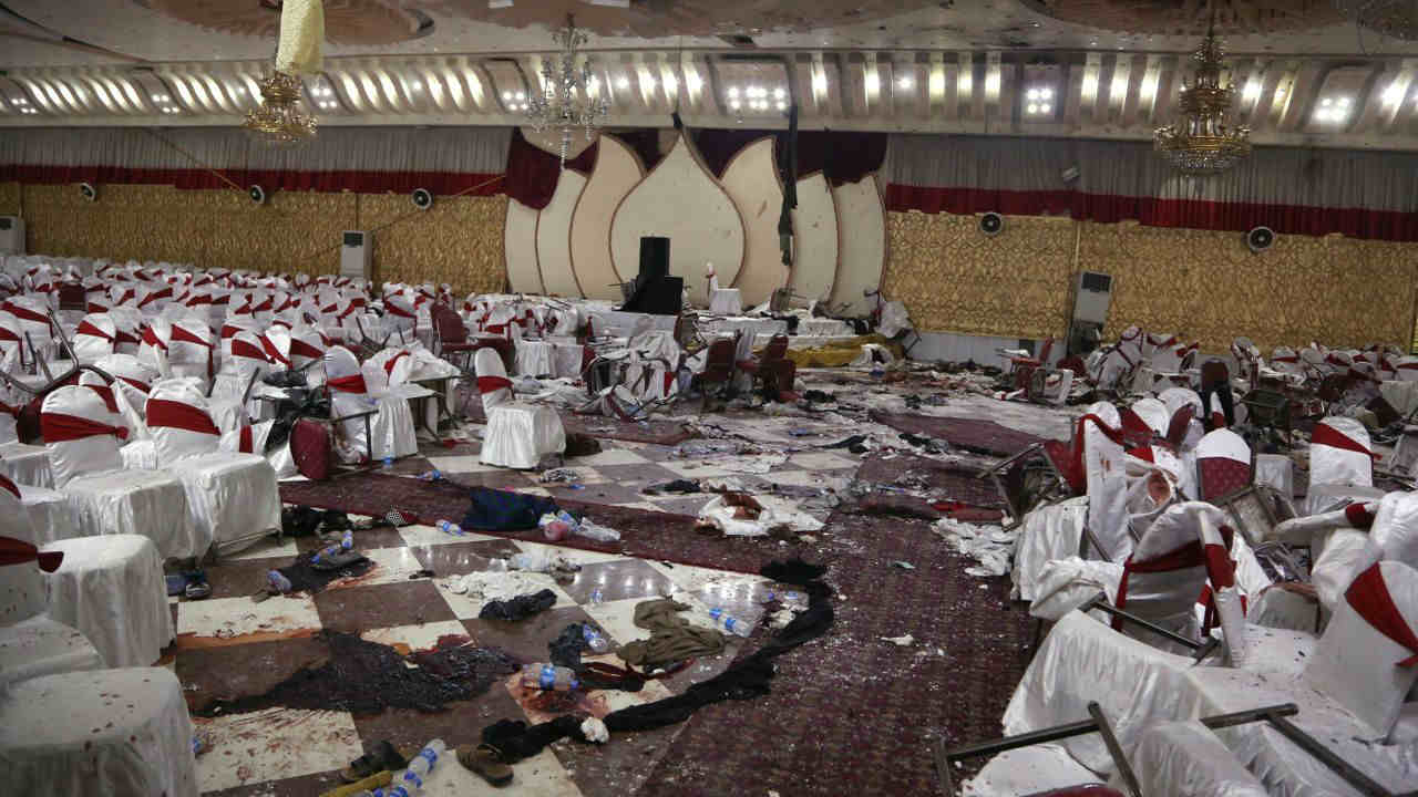 Inside of a wedding hall in Kabul, Afghanistan, is seen a day after a suicide attack. A suicide bomber was able to sneak into the wedding hall where hundreds of Muslim religious scholars and clerics had gathered to mark the birthday of the Prophet Muhammad. (AP/PTI)