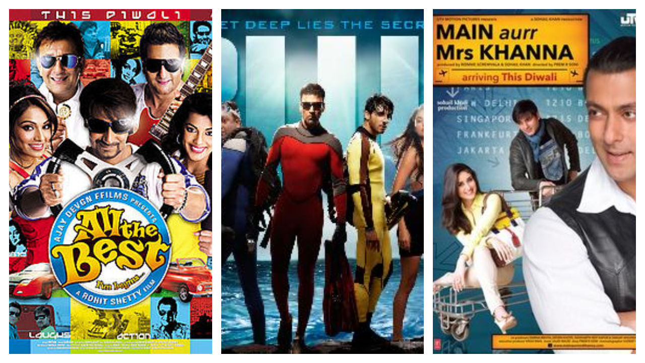 Year: 2009 | Film: All The Best | Budget: Rs 41 crore | Box office collection: Rs 67 crore | Film: Blue | Budget: Rs 80 crore | Box office collection: Rs 66 crore | Film: Main Aur Mrs Khanna | Budget: Rs 38 crore | Box office collection: Rs 15 crore (Image: Twitter)