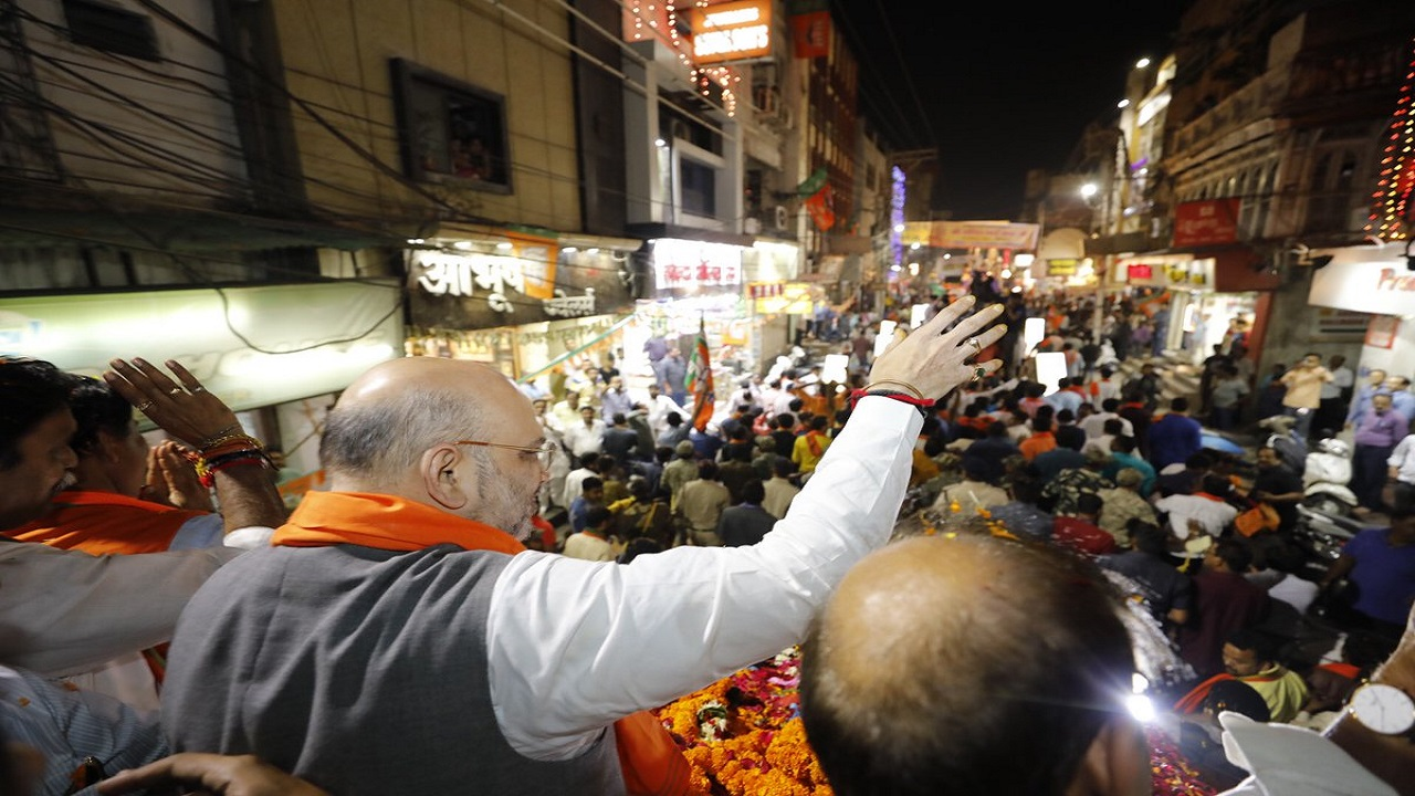 BJP president Amit Shah at a roadshow. Shah addressed over half-a-dozen rallies in the state. (Image: BJP Chhattisgarh/Twitter)